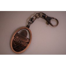 Dome of Rock Key Chain- w/ Palestine flag in a round brown metal keychain