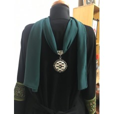 Green Neck Scarf with handmade Palestinian embroidery pendant