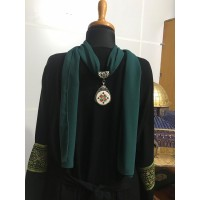 Neck Scarf with handmade Palestinian embroidery pendant