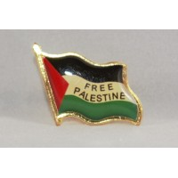 PALESTINE FLAG ENAMEL PIN BADGE W/FREE PALESTINE TEXT